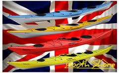 Composite and plastic Atlantic kayaks against Union Jack background
