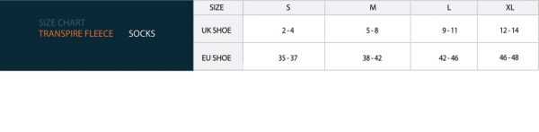 Reed Double transpire socks size chart
