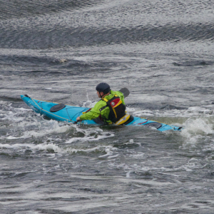 Sea kayaker in tidal flow