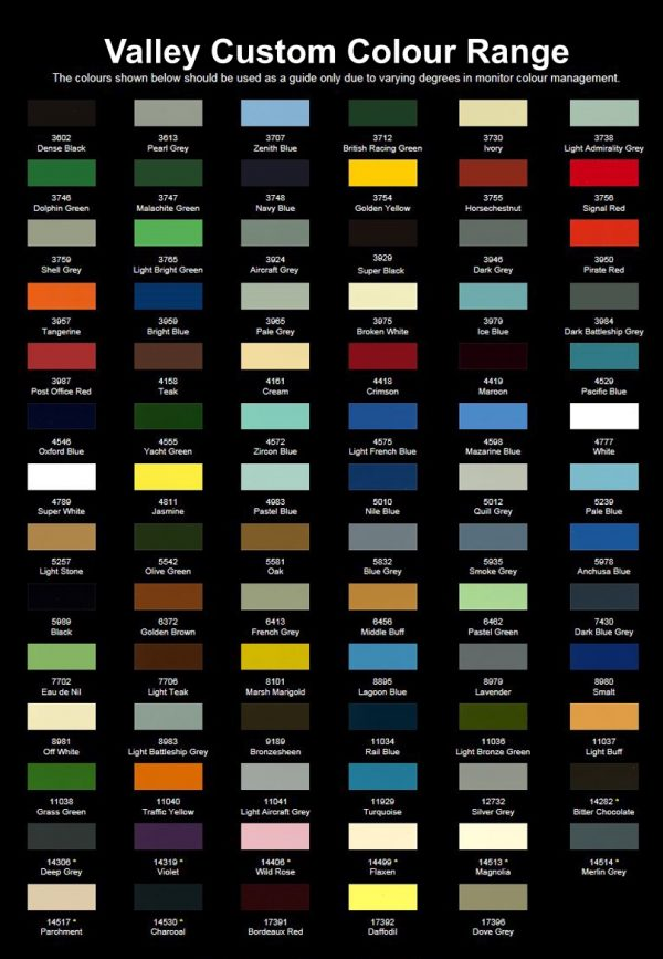 Valley Northshore colour chart