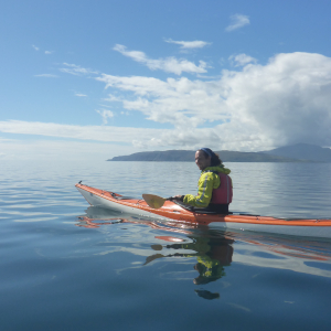Kayaker on calm sea