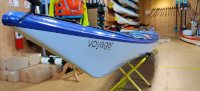 Northshore Voyager 16.10 Diolen Custom Kayak Bright Blue to Mazarine Blue Fade Side of Nose with Name View