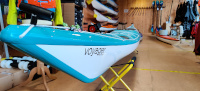 Valley Voyager 16.10 Kevlar Pacific Blue to Turquoise Fade Kayak Nose Name Side View
