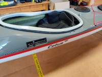 P&H Cetus MV carbon/kevlar infusion grey and red composite kayak cockpit view