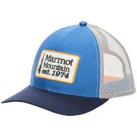 Marmot Retro Trucker Hat in Varsity Blue and Navy