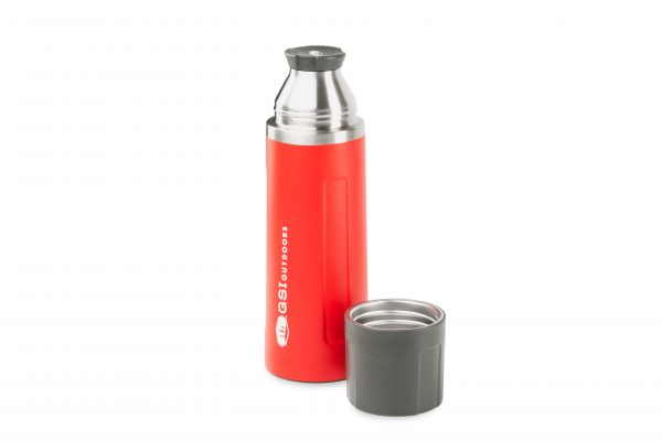 GSI Stainless Vacuum Bottle 1L Full View Red With Lid on and Usable Cup